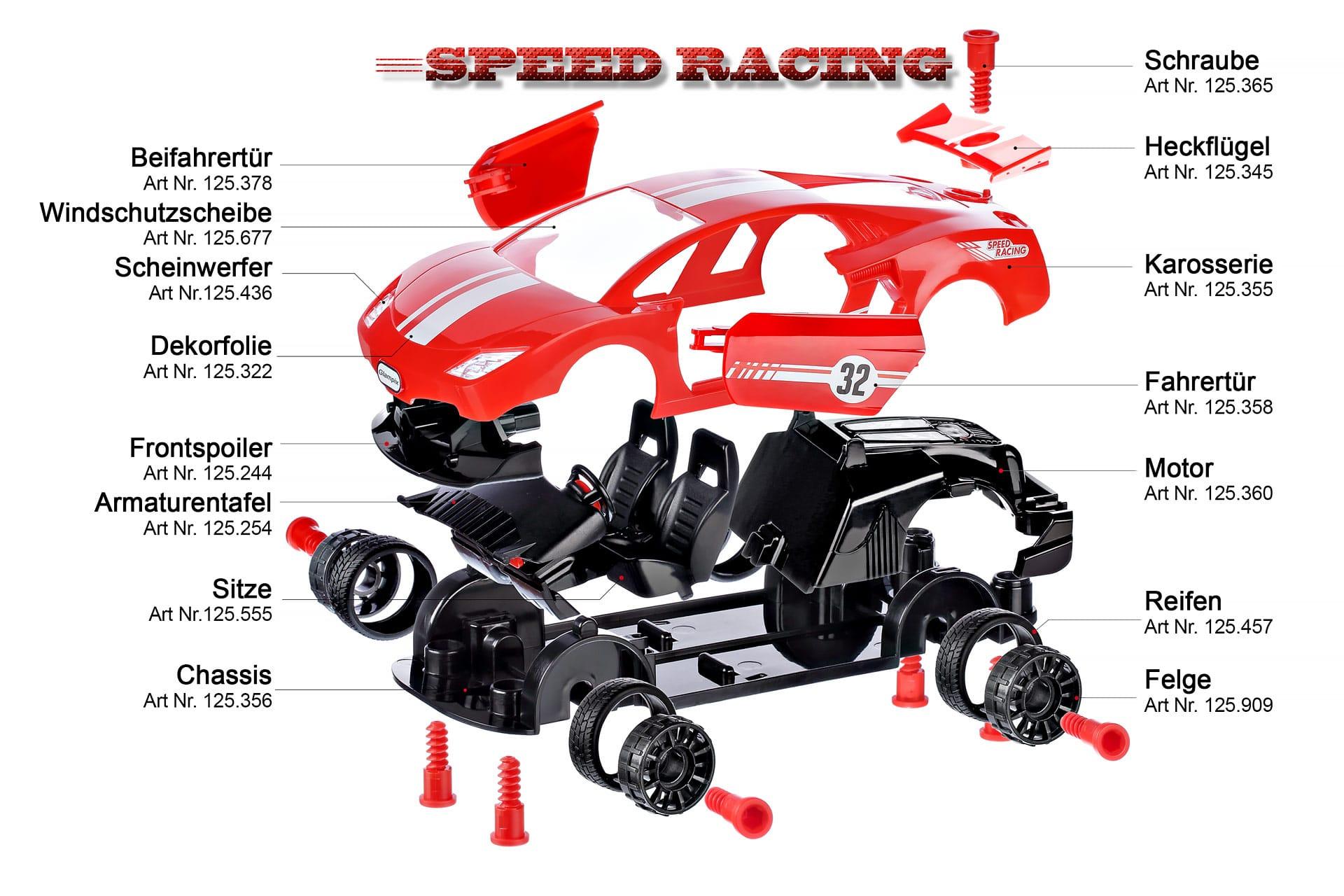 Produktfotografie von Explosionsbild Rennwagen Ersatzteilkatalog Einzelteile
