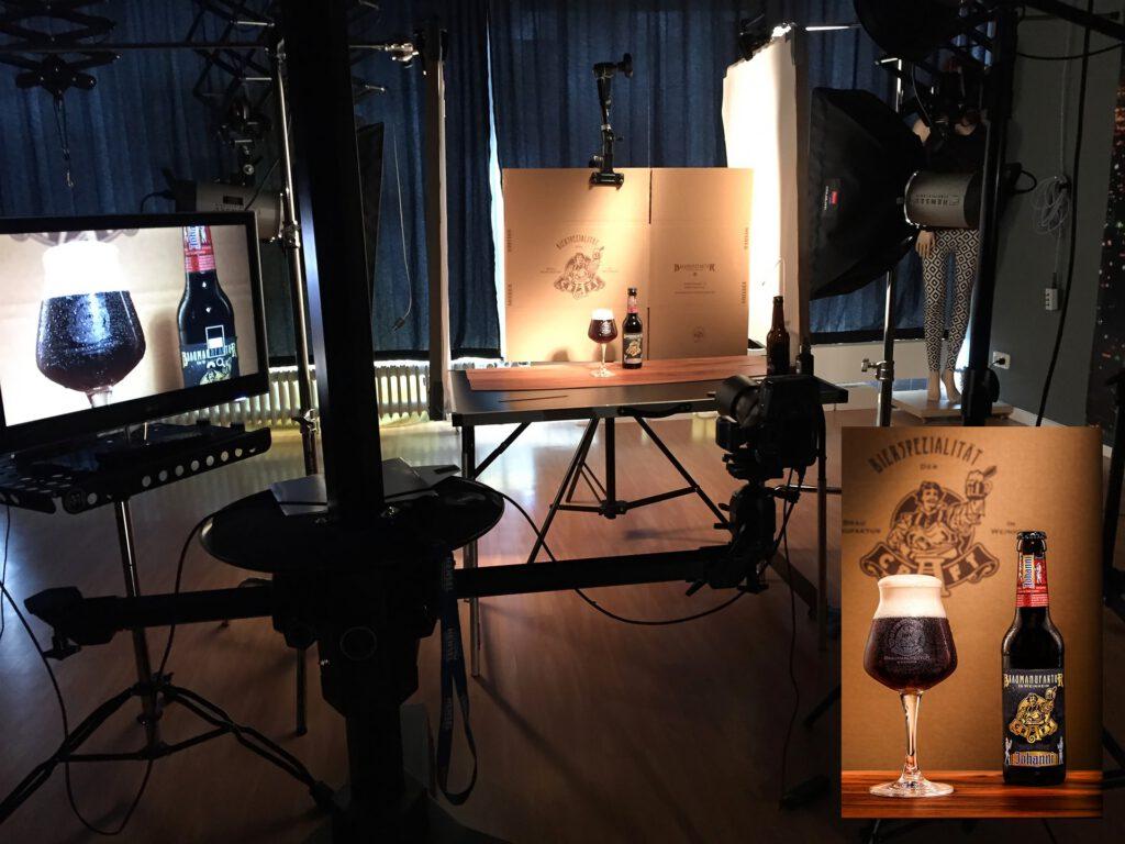 Bierfotografie für Brauerei Licht Setup