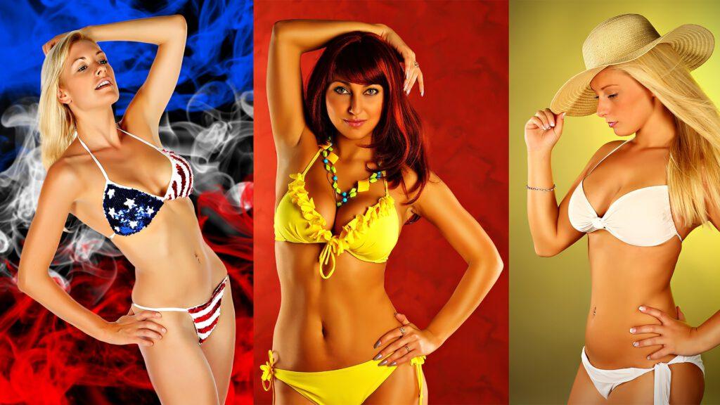 Modefotografie Bikinis von sexy Frauen getragen