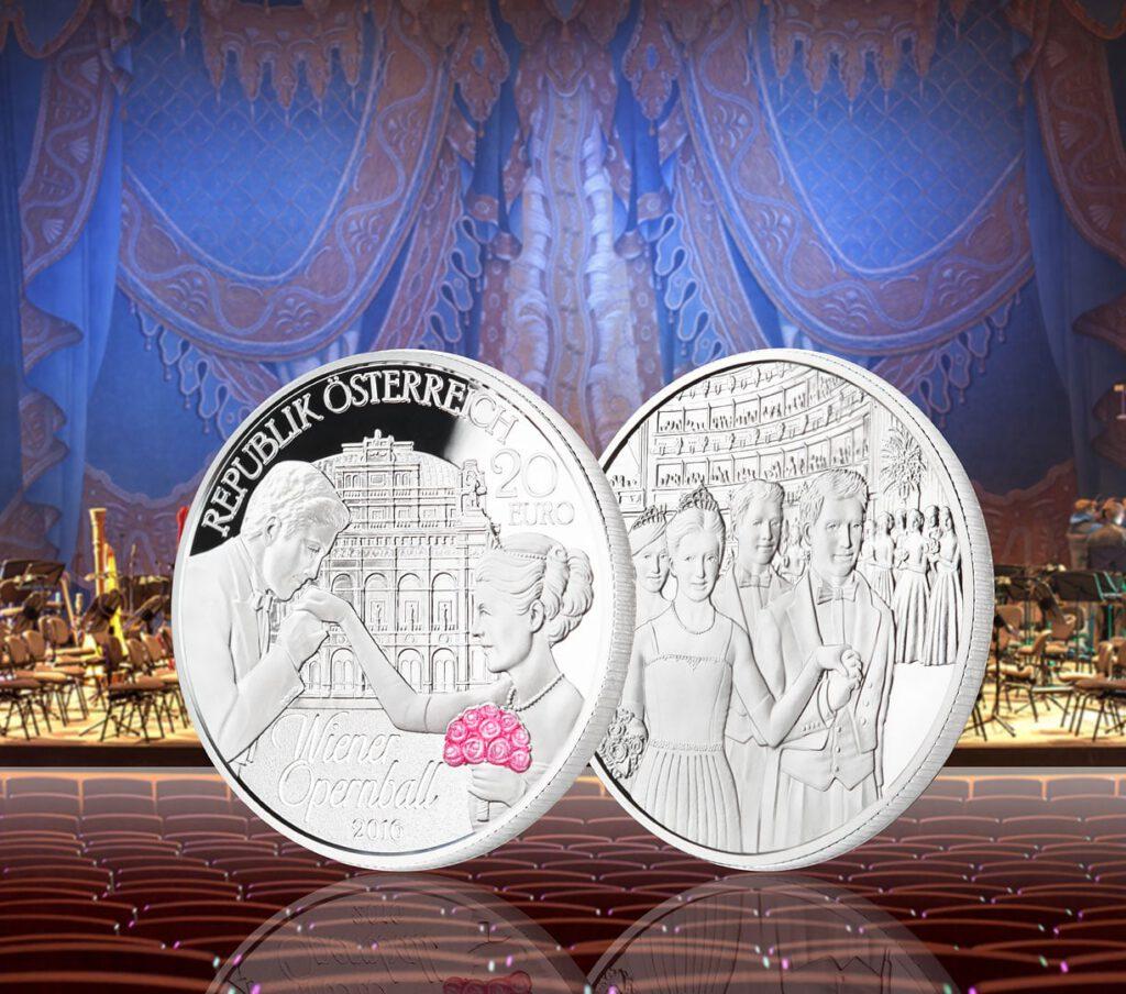 Münzfotografie Silbermünze Wiener Opernball