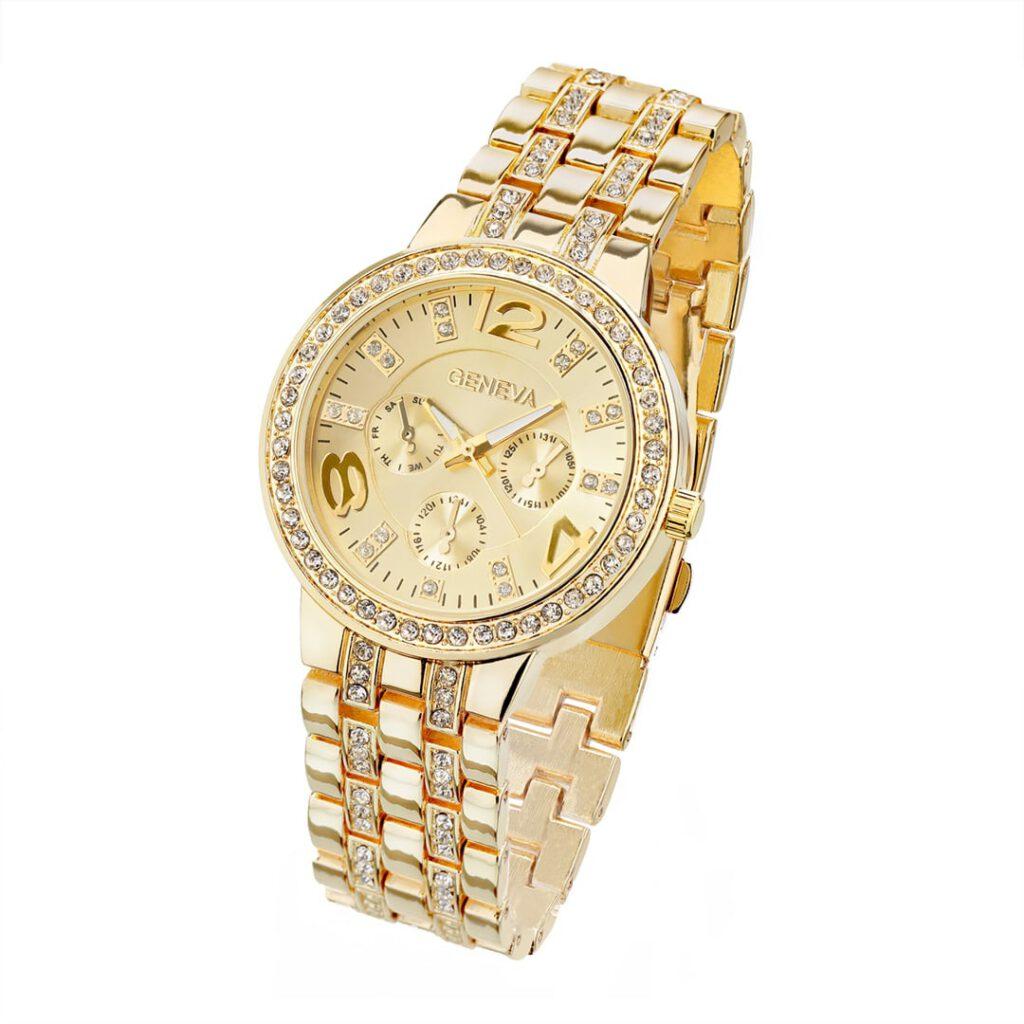 Gute Uhrenfotografie von preiswerter goldener Damenuhr