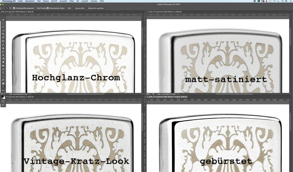 Fotografie von Chrom Varianten