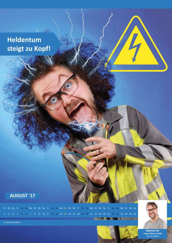 Kalenderfoto von Mann der Stromschlag bekommt