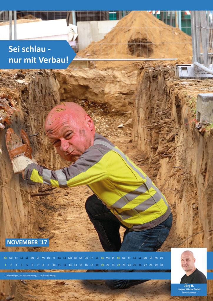 Arbeitssicherheitsfoto von nicht gesicherter Baugrube