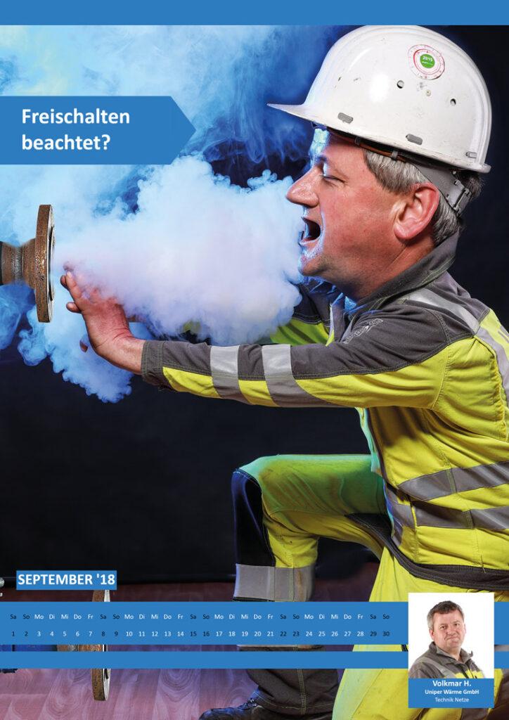 Heißer Wasserdampf berbrüht Hände, Arbeitssicherheit