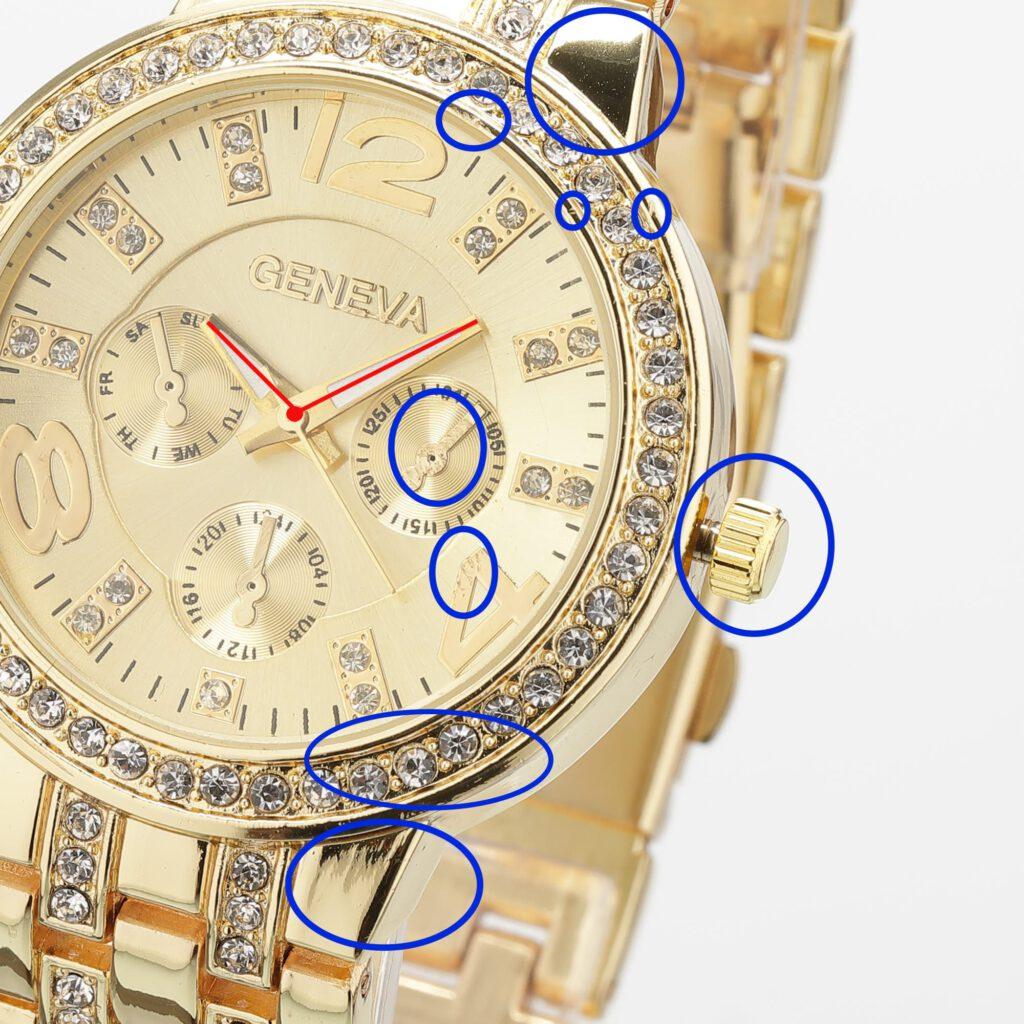 Zu retuschierende Bereiche einer Uhr